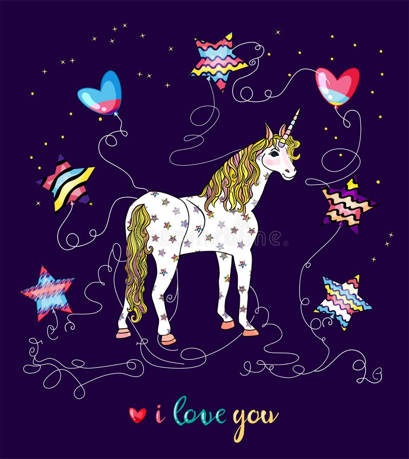 Cute greeting card with starry unicorn, wonderful star shaped balloons, text i love you isolated on purple background stock illustration