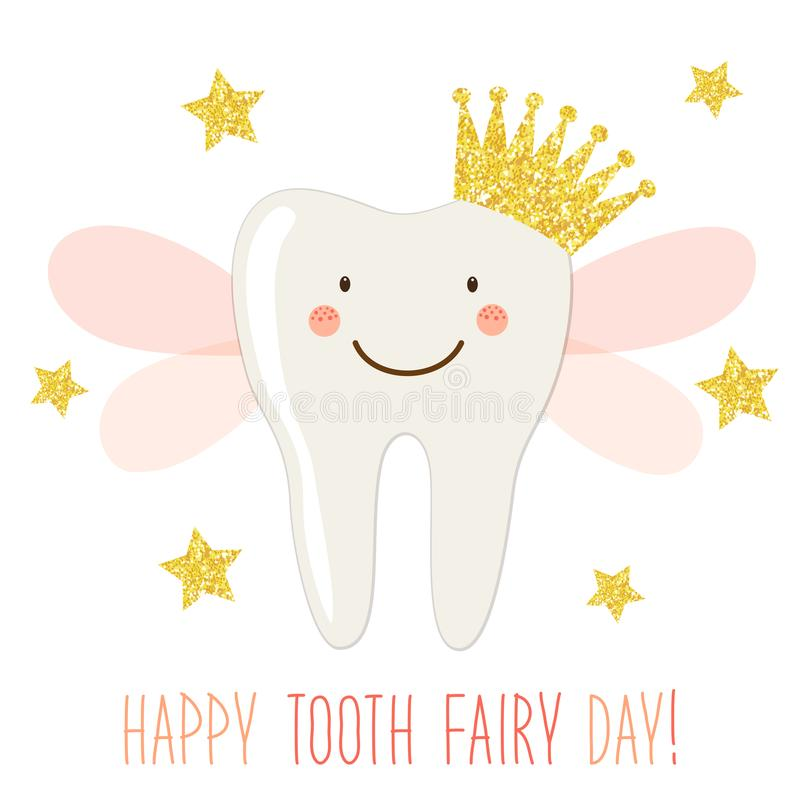Cute Tooth Fairy Day greeting card as funny smiling cartoon character of tooth fairy with crown and hand written text vector illustration