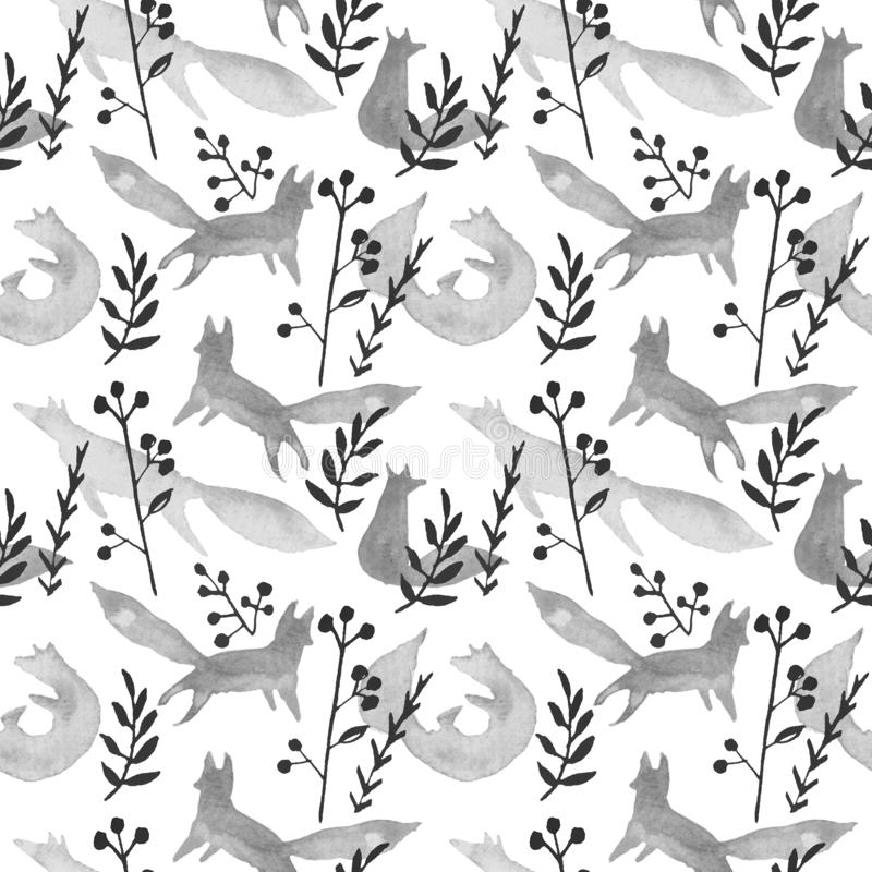 Cute grey foxes in winter forest watercolor seamless pattern on white background. Cartoon simple foxes playing, curled royalty free illustration