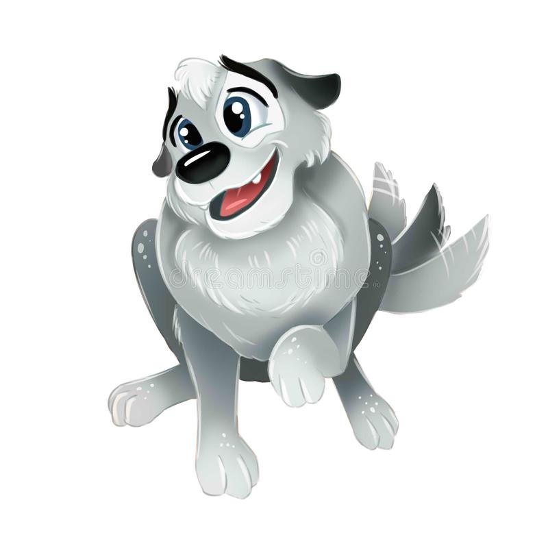 Cute grey puppy sitting and wagging his tail. Top view isolated image. Cute grey puppy sitting and wagging tail. Top view isolated image vector illustration