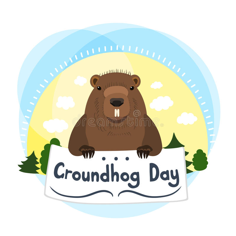 Cute groundhog. Cute marmot. Greeting Card Groundhog Day. Sun, clouds, trees. vector illustration