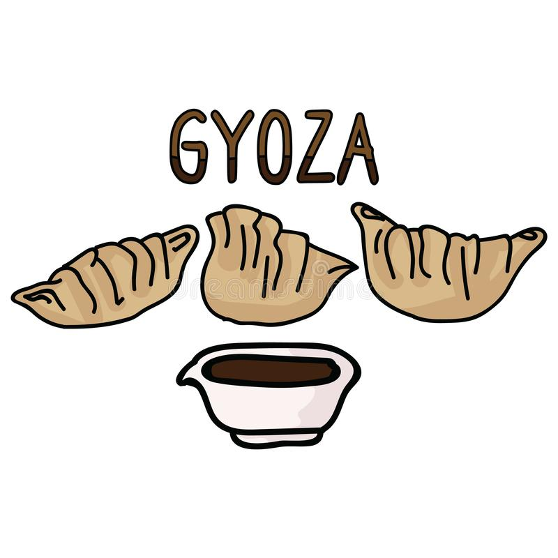 Cute gyoza meal with soy sauce typography. Hand drawn asian dumpling snack clipart. Cute gyoza meal with soy sauce typography. Hand drawn asian dumpling clipart vector illustration