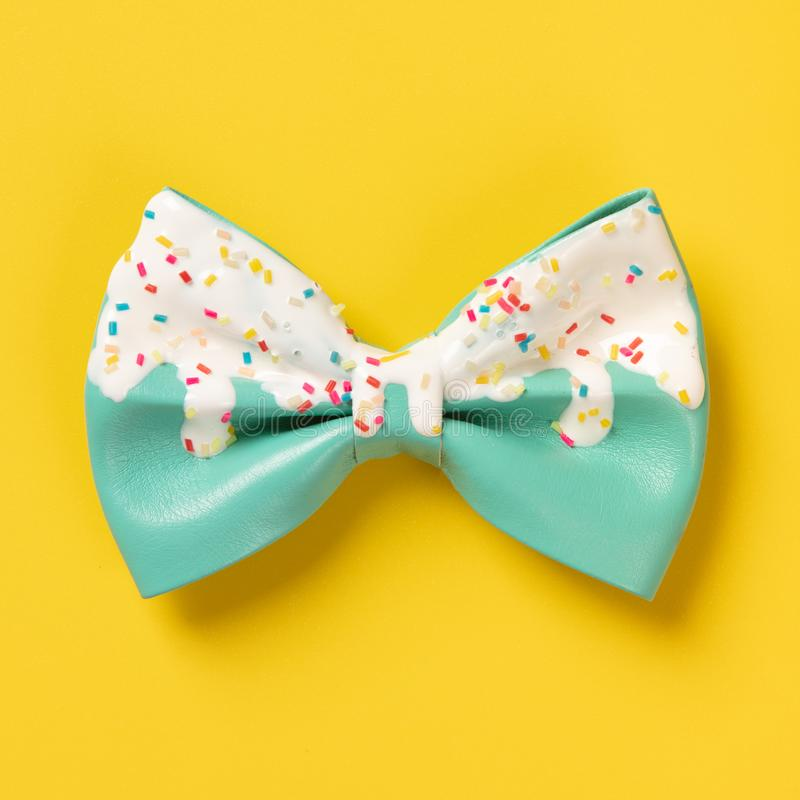 Cute hair bow on bright background, flat lay. Top view stock photos