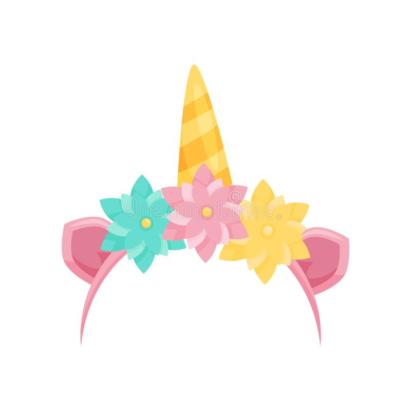 Cute hair hoop with pink ears, unicorn`s horn and colorful flowers. Bright head accessory. Flat vector icon stock illustration