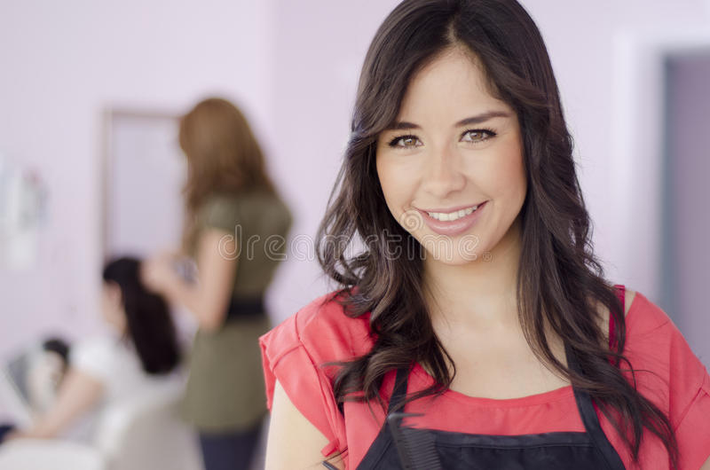 Cute hairstylist at work. Portrait of a cute female hairstylist smiling with a customer in the background stock images