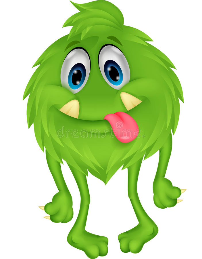 Cute hairy green monster. Illustration of Cute hairy green monster royalty free illustration