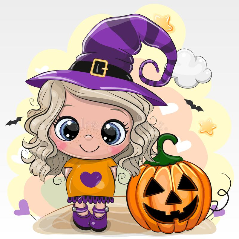 Halloween card with girl in a hat of witch on a yellow background vector illustration