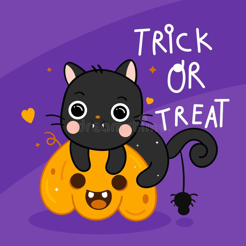 Cute Halloween cat vector and spider with pumpkin cartoon, Pretty kitty stock illustration