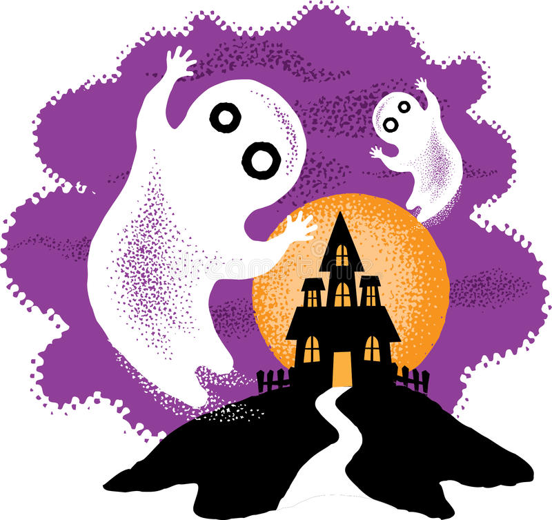 Cute Halloween Ghosts stock images