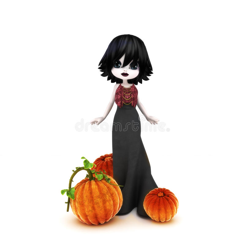 Cute Halloween Gothic toon posing with pumpkins. On a white background stock image