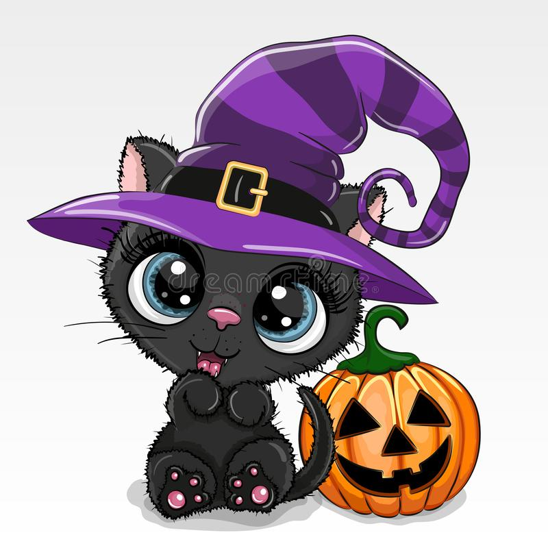 Halloween illustration of Cartoon cat with pumpkin on a white background vector illustration