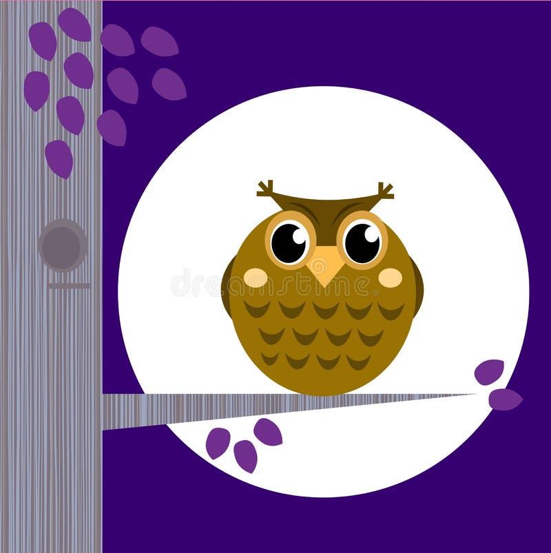 Cute Halloween Owl on Tree Branch with full moon stock illustration