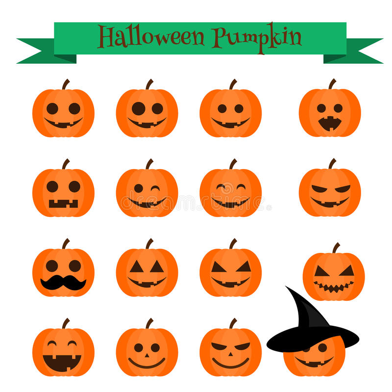 Cute halloween pumpkin emoji icons set. Emoticons, stickers, design elemets. Cute vector halloween pumpkin emoji icons set. Emoticons, stickers, isolated design royalty free illustration