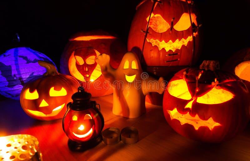 Cute Halloween pumpkins at night - halloween party background. Cute Halloween pumpkins at night - halloween party cute background royalty free stock photos
