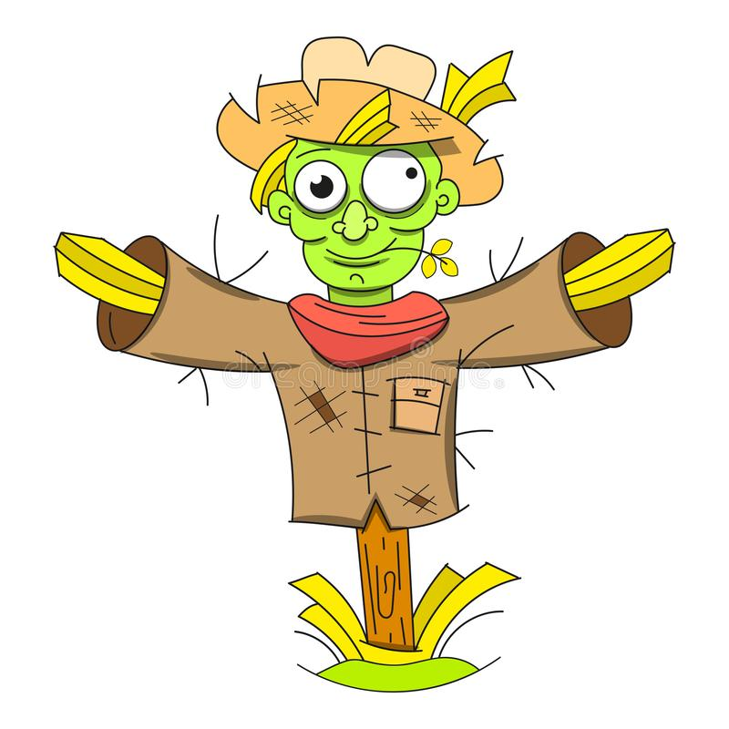 Cute halloween scarecrow doodle patch sticker. Vector stock illustration