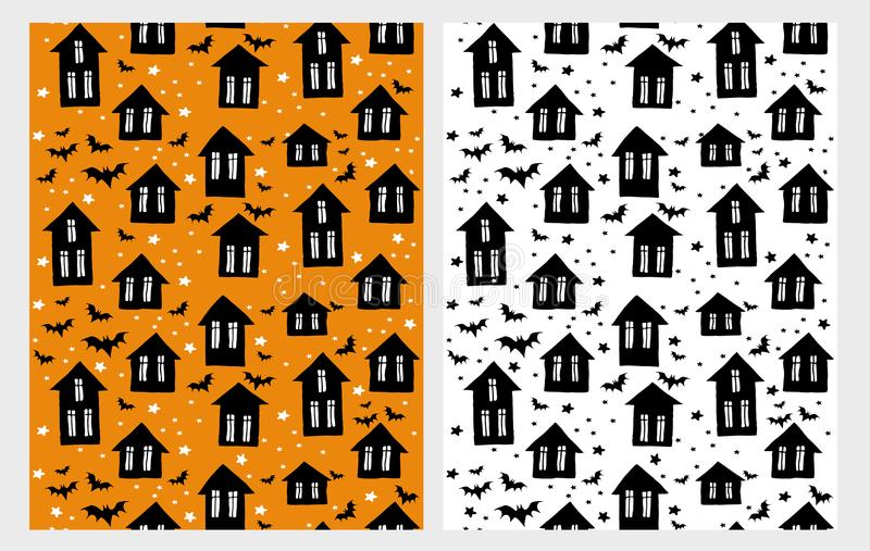 Cute Halloween Vector Pattern Set. Scary Houses whit Black Bats. White, Black and Orange Childish Style Design. stock illustration