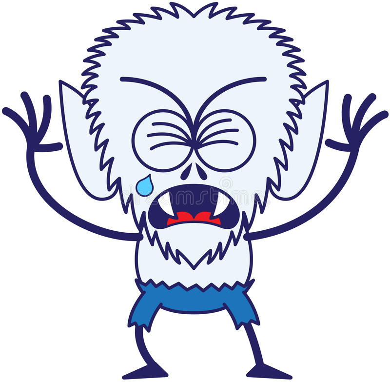 Free Cute Halloween Werewolf Crying And Sobbing Royalty Free Stock Images - 45348949