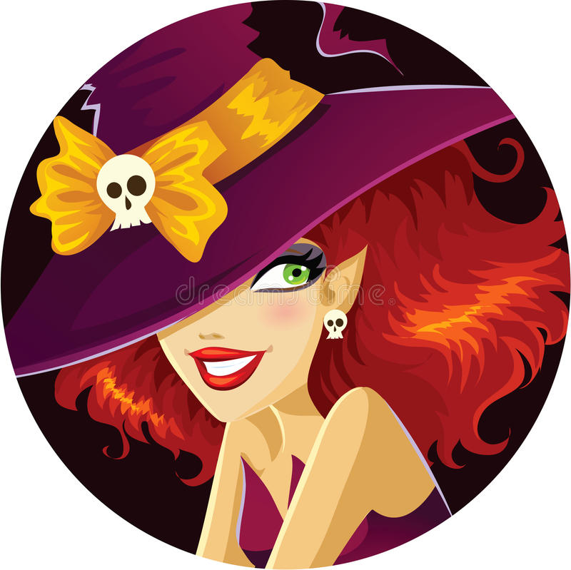Cute Halloween witch portrait royalty free stock photos