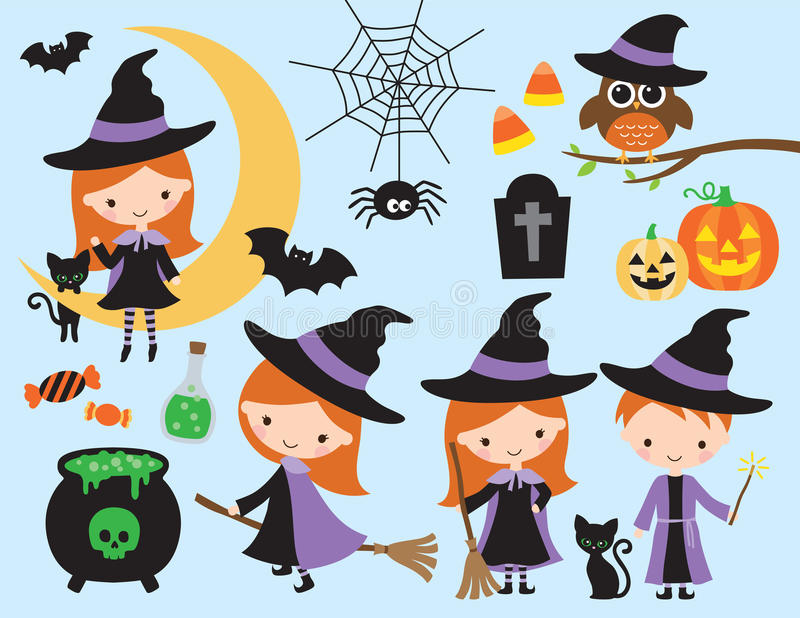 Cute Halloween Witch and Wizard Vector royalty free illustration