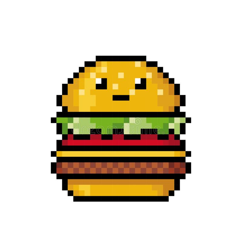 Cute Hamburger In The Style Of Pixel Art. Stock Vector - Illustration of cheese, design: 148421297