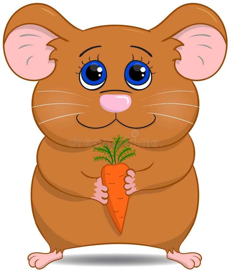 Cute hamster with carrot. Vector stock illustration