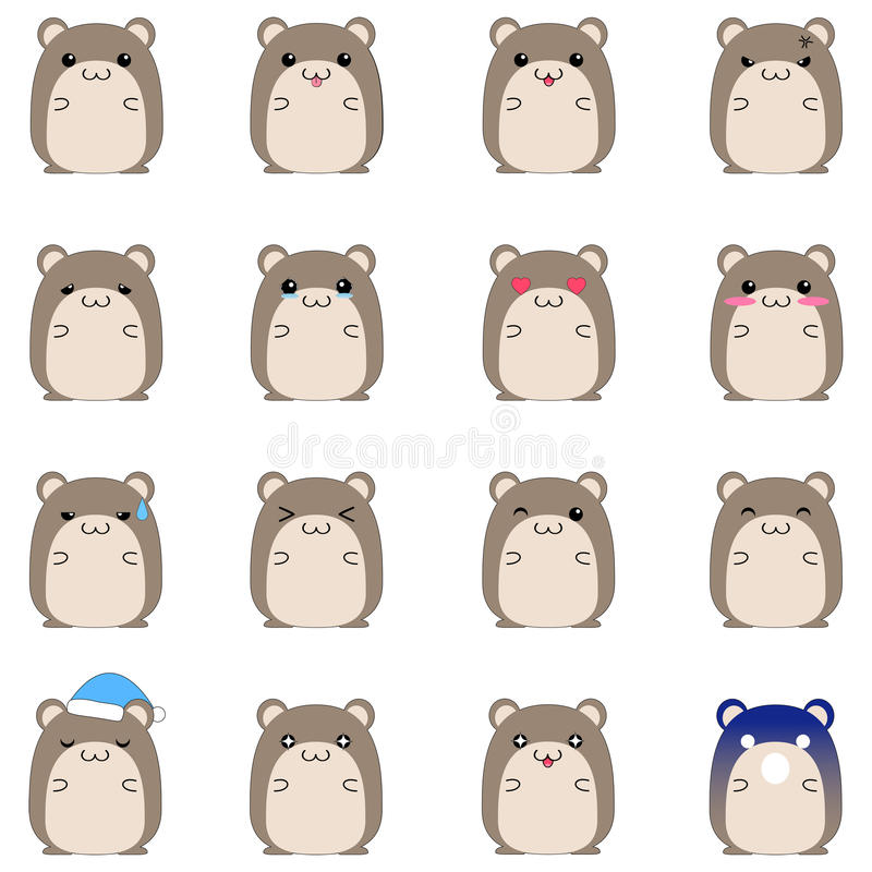 Download Cute Hamster Emotional Icons Stock Vector - Image: 25091026