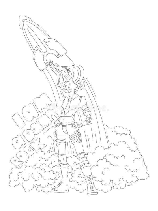 cute hand draw coloring page brave astronaut cosmonaut engeneer girl launching rocket feminist zen art vector illustration