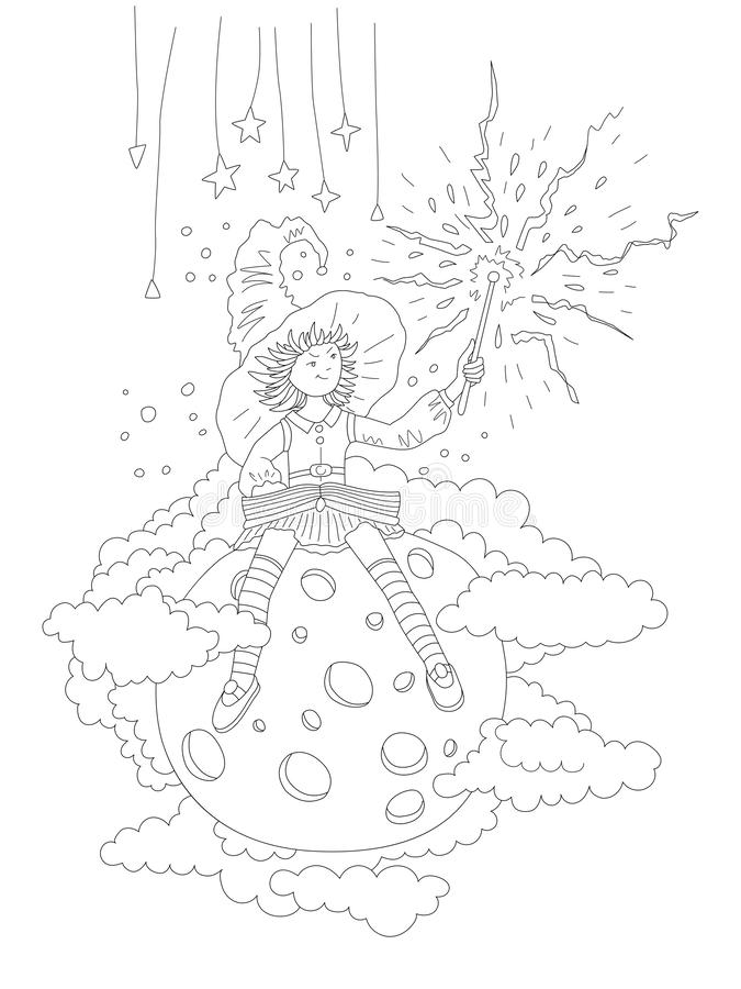 Cute hand draw coloring page with fairy girl who sits on the moon and holds a magic wand, surrounded by clouds and stars royalty free illustration