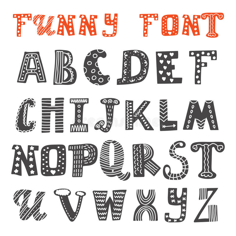 Download Cute Hand Drawing Alphabet Funny Font Stock Vector