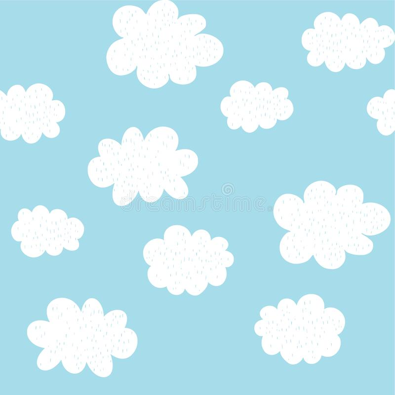 Cute Hand Drawn Abstract Clouds Vector Pattern. White Fluffy Clouds. Blue Background. Simple Baby Shower Design. stock illustration