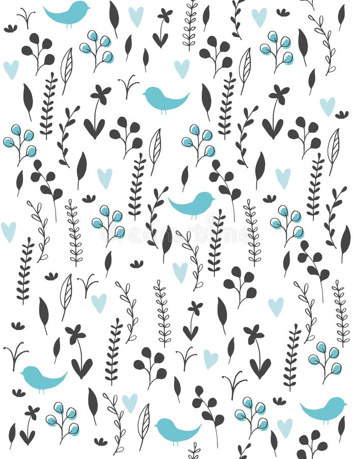 Cute Hatern. Black Twigs, Flowers and Leaves and Blue Hearts and Birds Among Them. Cute Hand Drawn Abstract Meadow with Birds Vector Pattern. Black Twigs royalty free illustration