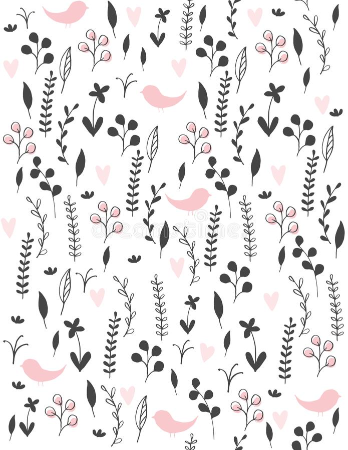 Cute Hand Drawn Abstract Meadow with Birds Vector Pattern. Black Twigs, Flowers and Leaves and Pink Hearts and Birds Among Them. Simple Infantile Style Design vector illustration