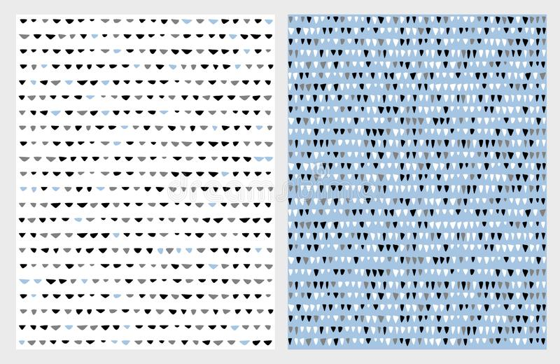 Cute Hand Drawn Abstract Triangle Vector Patterns. Blue, White, Gray and Black Simple Design. stock illustration