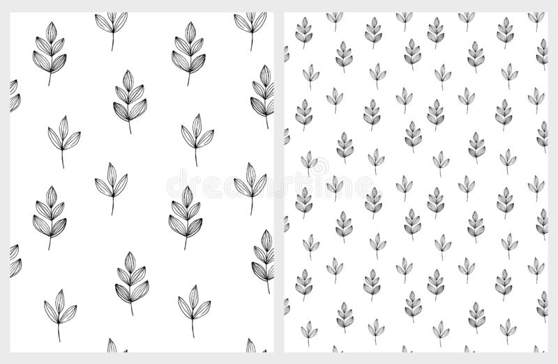 Cute Hand Drawn Abstract Twigs Vector Patterns. Black and White Hygge Style Graphic. Black and White Simple Design. Floral Repeatable Patterns. Hygge Style royalty free illustration