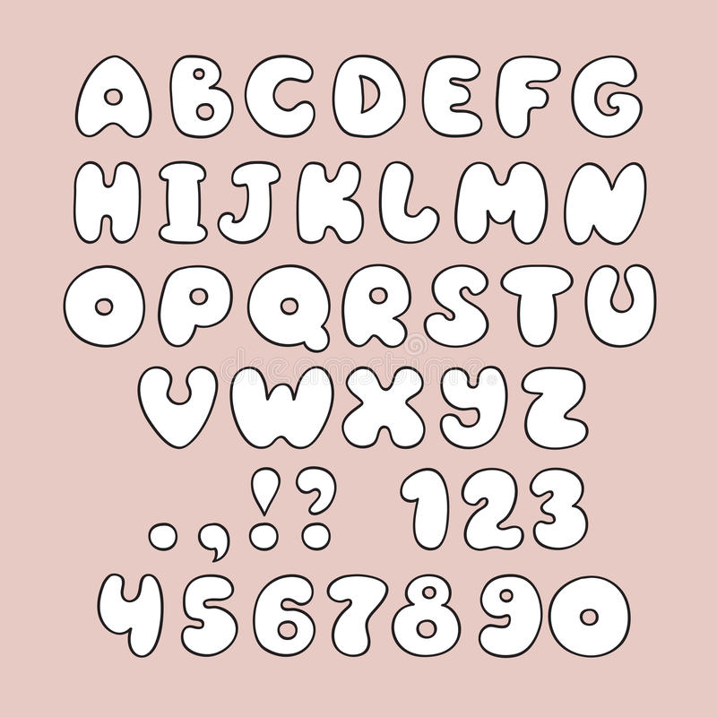 Download Cute Hand Drawn Alphabet And Numbers In Vector Stock