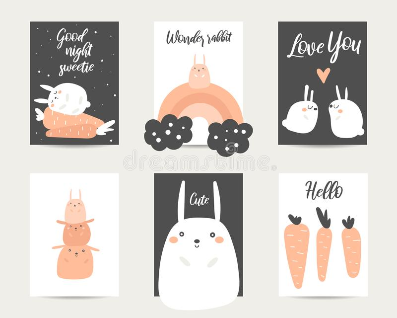 Cute hand drawn anime style baby shower, easter cards, brochures, invitations with rabbit royalty free illustration
