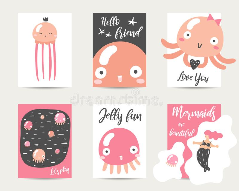 Cute hand drawn anime style cards, brochures, invitations with jellyfish royalty free illustration