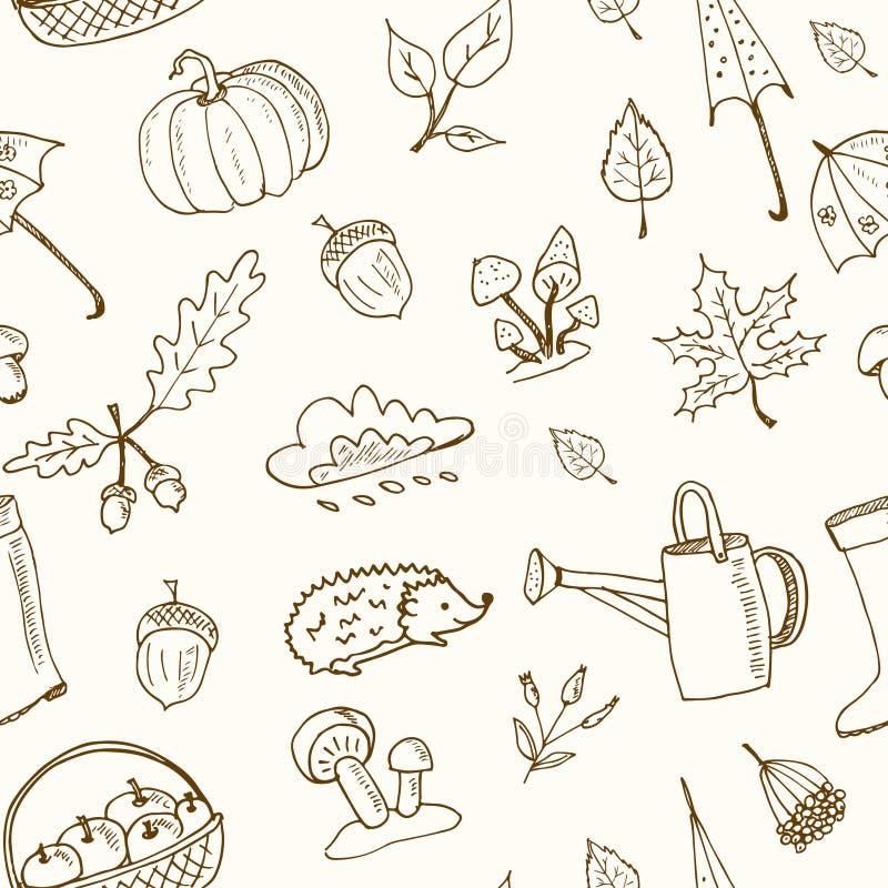 Cute hand drawn autumn seamless pattern vector illustration