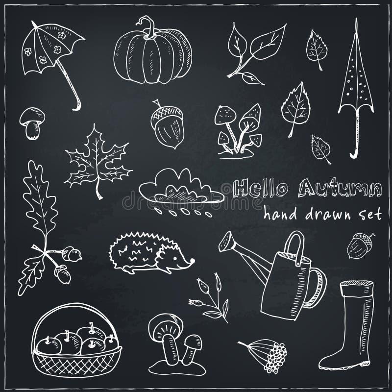 Cute hand drawn autumn set royalty free illustration