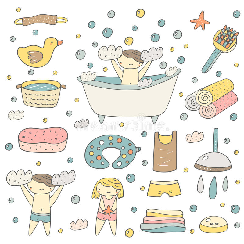 Cute hand drawn baby bathing objects collection royalty free illustration