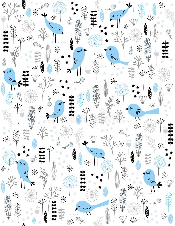 Cute Hand Drawn Blue Vector Birds. Grey, Blue and Black Twigs, Flowers and Leaves. White Background. Childish Style Illustration. Blue abstract birds among stock illustration