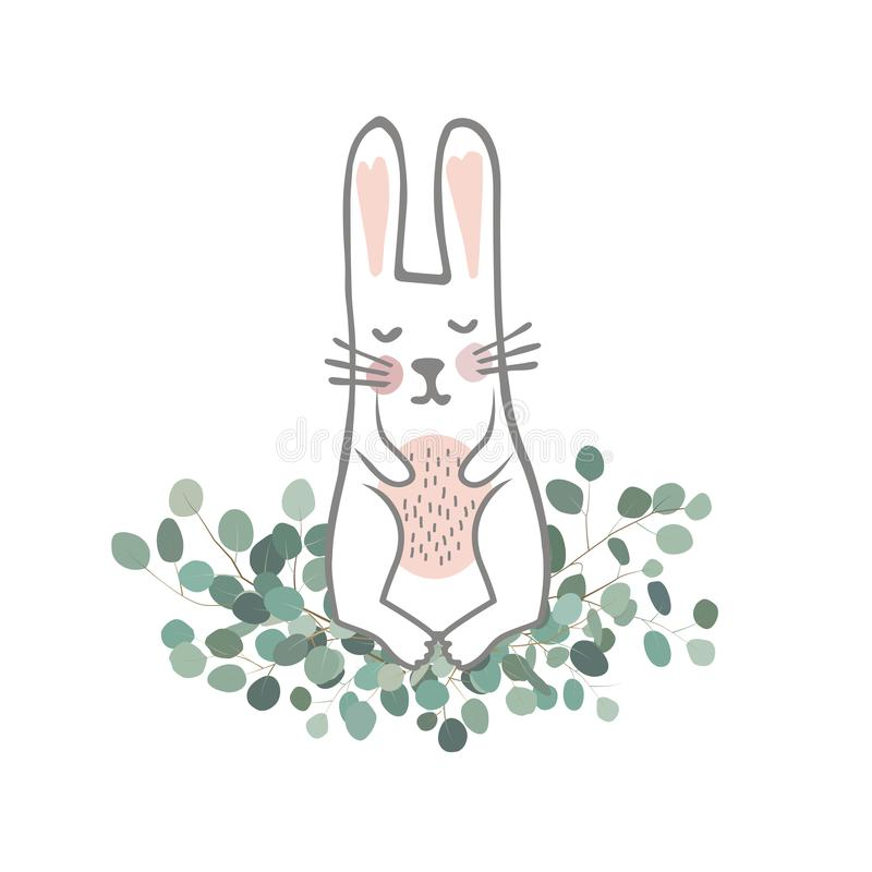 Cute hand drawn bunny on the Eucaliptus branches. Easter Vector illustration. Sweet Newborn Rabbit Character. royalty free illustration