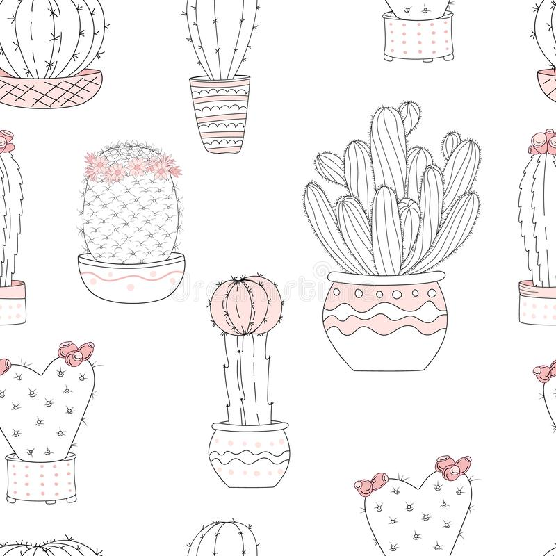 Cute hand drawn cactus with letters on wiht background. Vector seamless pattern stock illustration