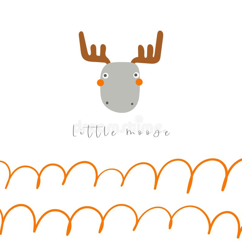 Cute hand drawn card, postcard, poster with doodle moose, abstract element, text space. royalty free illustration