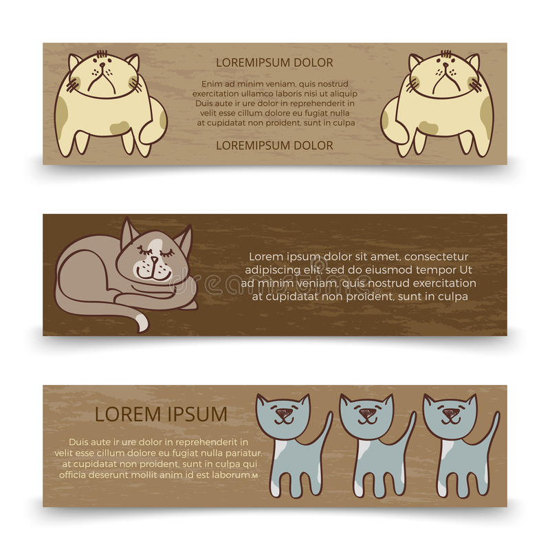 Cute hand drawn cats banners template stock illustration