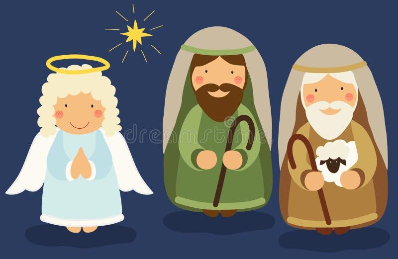 Cute hand drawn characters of Nativity scene stock illustration