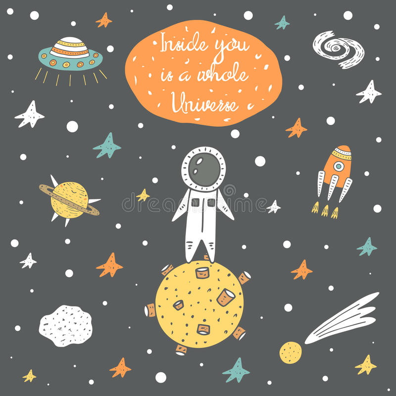 Cute hand drawn cosmic doodle card vector illustration