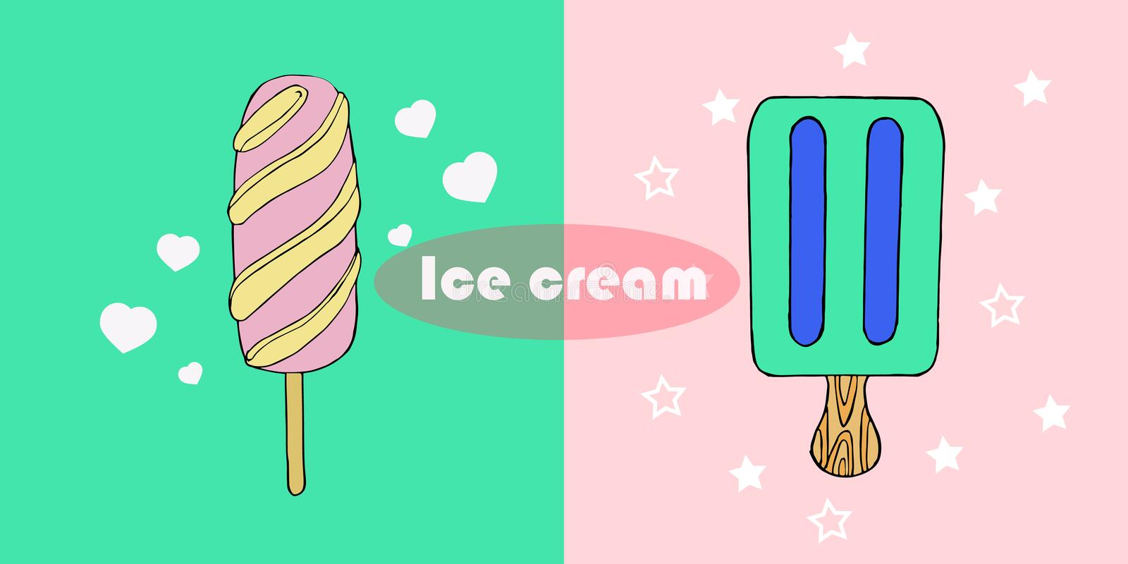 Cute hand drawn with different types of ice cream. Doodle texture with sweet desserts. Perfect background for cafe or restaurant menu. Vector illustration stock illustration