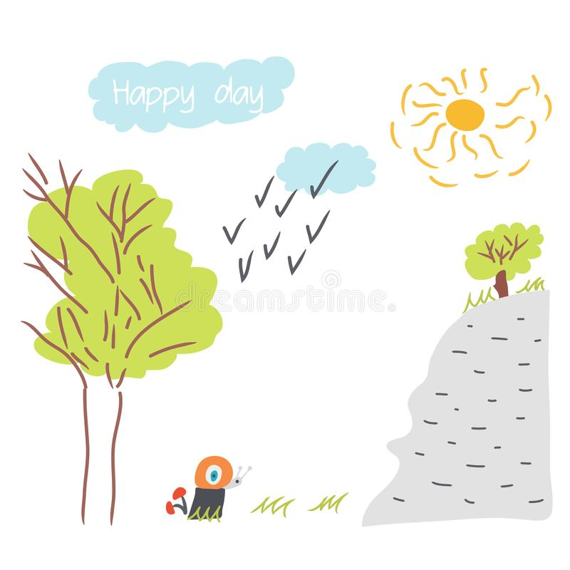 Cute hand drawn doodle baby shower cards, brochures, invitations with snail, tree, sun, sun, clouds, birds. Cartoon background - royalty free illustration