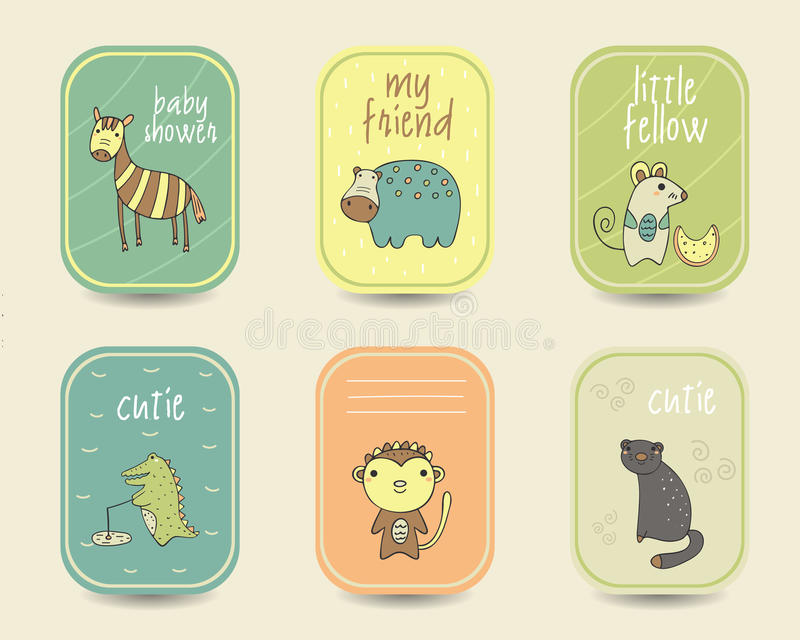 Cute hand drawn doodle baby shower cards. Brochures, invitations with zebra, hippo, mice, monkey, crocodile, black panther. Cartoon animals background stock illustration